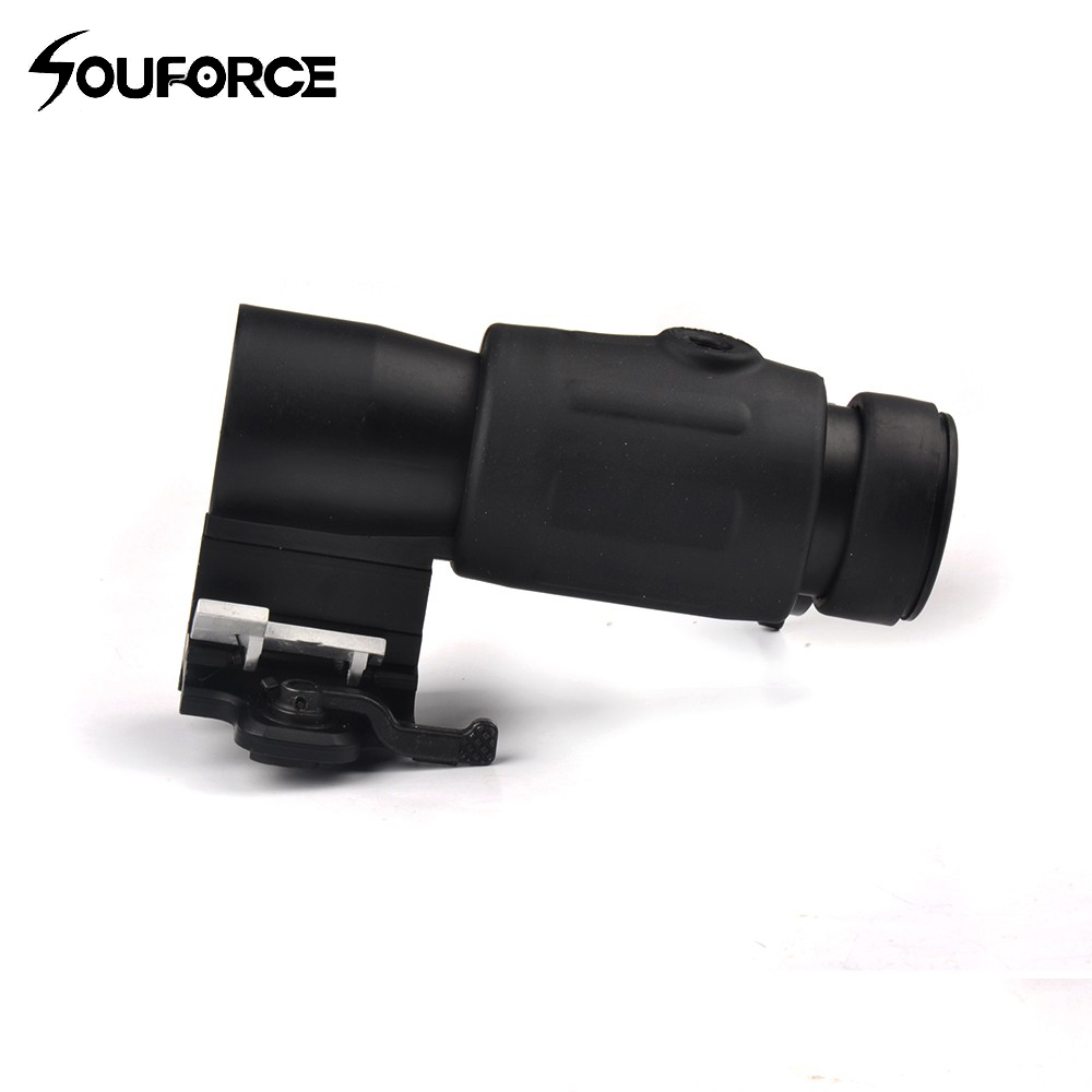 Tactical 3X Magnifier Scope Quick Release for 20mm Picatinny Rail Flip to Side Mount for Rifle
