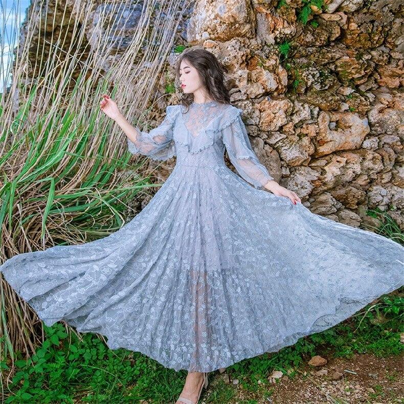 Nowe wysokiej jakości eksplozje wypoczynek elegancki draped suknie kobiety koronki wiosna koszula na co dzień sukienka w Suknie od Odzież damska na  Grupa 1