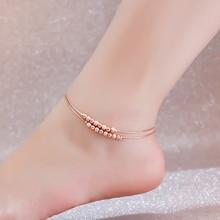 Высокое качество 18KGP роуз позолоченные титана стали 2-layer бусины ножной браслет мода марка украшения для женщин бесплатная доставка ( GA058 )
