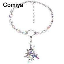 Comiya parfum women perfume fashion crystal stones flower charm pendant women choker necklaces indian jewelry statement necklace