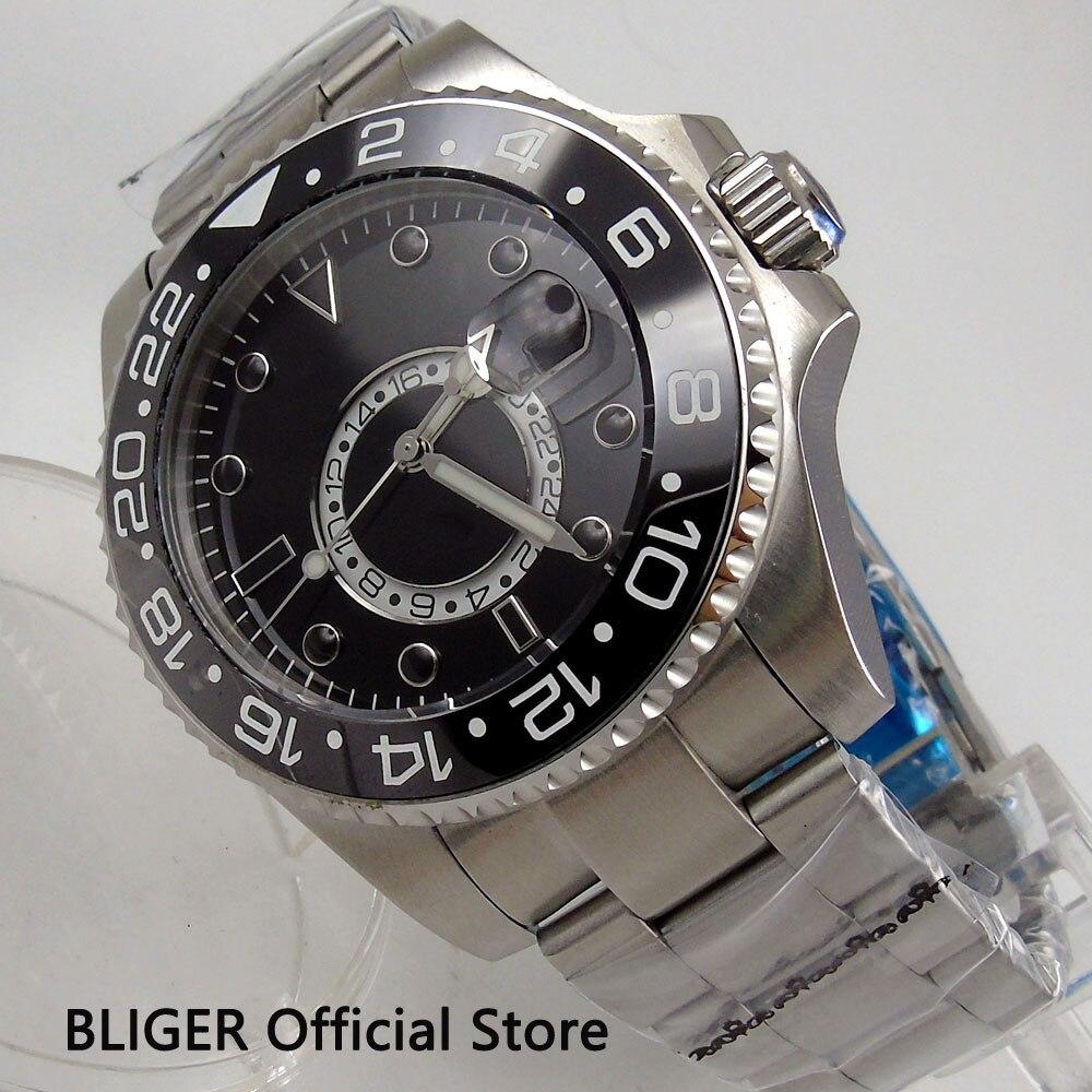 Fashion BLIGER 43MM Black Dial Ceramic Bezel GMT Function Sapphire Crystal Luminous Marks Automatic Movement Men