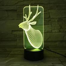 Christmas deer Night Lamp 3D Illusion 7 Color Changing Child Kids Girl Gift Animals Elk Desk LED Night Light Bedside Decoration недорого