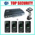 Sistema de control de acceso tarjeta de control de acceso TCP/IP 2 puertas con 4 unids rf1200 sensor de huellas dactilares lector de huellas dactilares y 1 a agregar usuarios