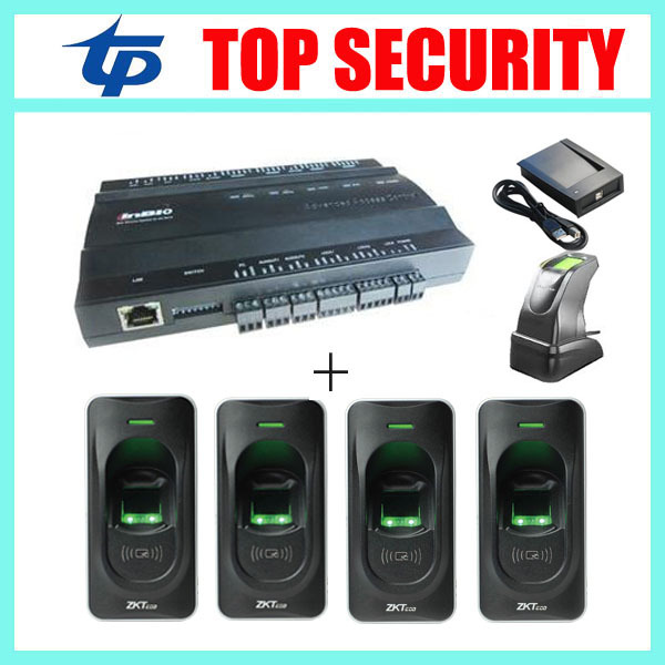 TCP/IP 2door access control system access control board with 4pcs rf1200 fingerprint reader and 1 fingerprint sensor to add user tcp ip biometric face recognition door access control system with fingerprint reader and back up battery door access controller