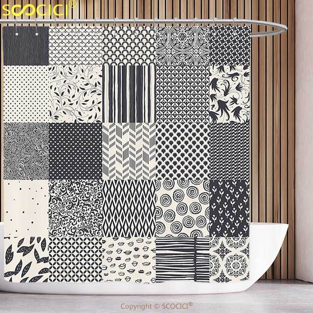 Stylish Shower Curtain Geometric Abstract Collage Like Image with ...