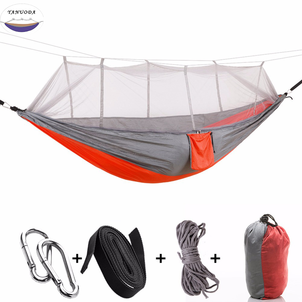 Furniture Portable Outdoor Camping Hammock With Mosquito Net Parachute Fabric Hammocks Beds Hanging Swing Sleeping Bed Tree Tent Factories And Mines Outdoor Furniture