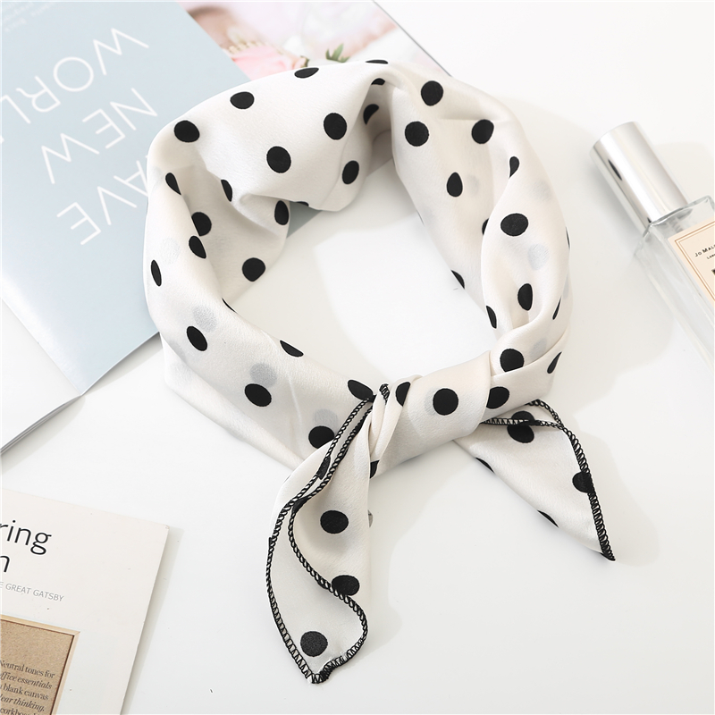 New Square Scarf Hair Tie Band For Business Party Women Elegant Small Vintage Skinny Retro Head Neck Silk Satin Scarf