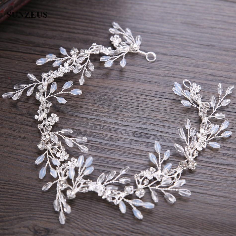 2020 New Arrival Crystal Bridal Headband Hand-made Wedding Sash Silver Brides Head Chain Accessory SQ0222