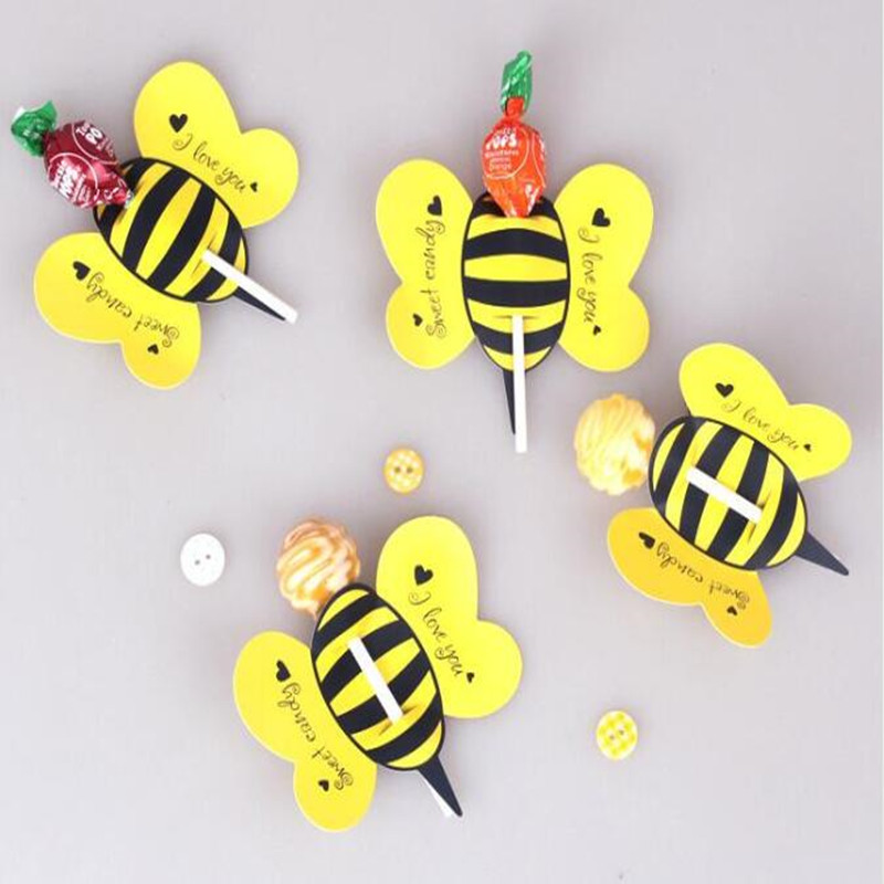 50Pcs Lot Lips Mustache Bee Butterfly Printed Lollipop Paper Decorative Card Candy Stick Weddding DIY Decorations New Year In Party From