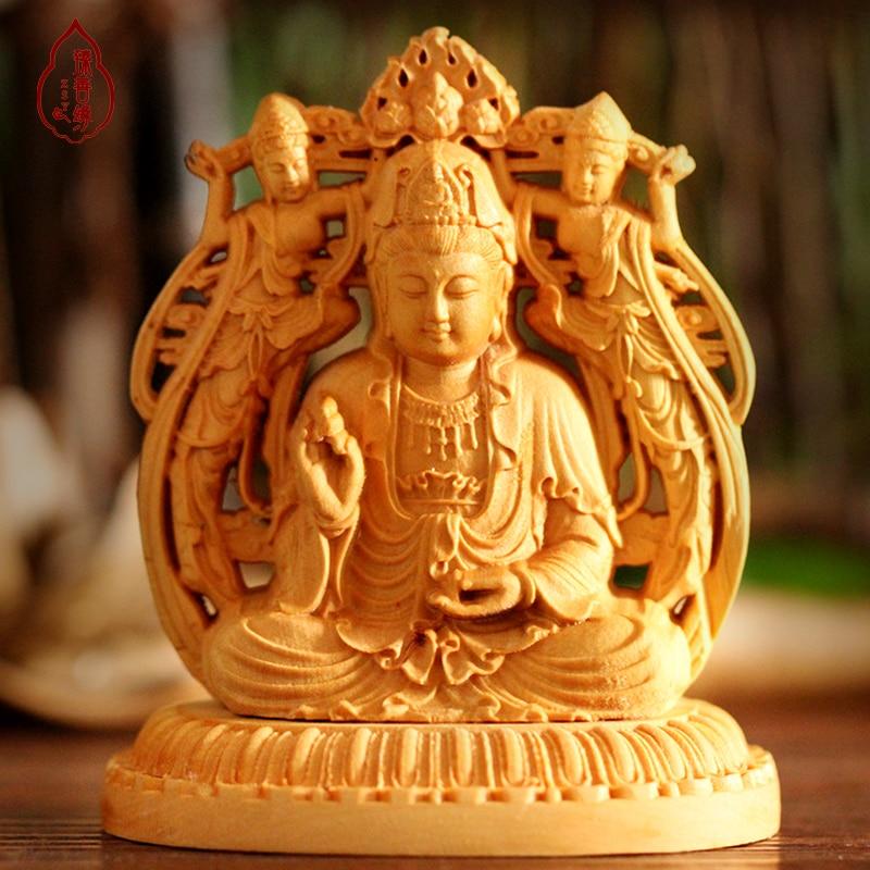 Main gravure œuvre buis d'eau sculpture sur bois Guanyin bouddha Maitreya Jushi voiture décoration artisanat cadeau bouddha Guan danse