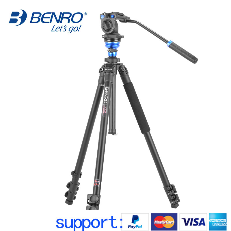 BENRO A1573FS2 Video Tripod Professional Aluminum Camera Tripods With S2 Video Head QR4 Plate Pan Bar Handle BS03 Carry Bag benro s2 pro video heads aluminum hydraulic head for video tripod qr4 quick release system max load 2 5kg free shipping