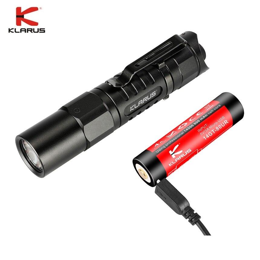 2018 Klarus XT1A LED lampe de Poche CREE XP-L HD V6 1000 lumens Tactique lampe de Poche Compact De Poche Torche avec 14500 batterie