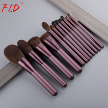 FLD 12pcs Wood Handle Makeup Brush Set Blush Brush Set Eye Eyeliner Powder Foundation Make Up Brushes Set Cosmetic Tools Kit handmade makeup brushes set 6pcs soft goat hair make up face powder blush eye shadow brush pink handle cosmetic tools