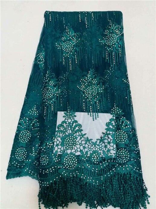 Beautiful Flower Stone Net Lace Fabric African Green Grey