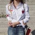 Rugod algodón del otoño del resorte mujeres blusas camisa del corazón del arco iris de manga larga bordado de las mujeres tops 2017 casual algodón chemise femme