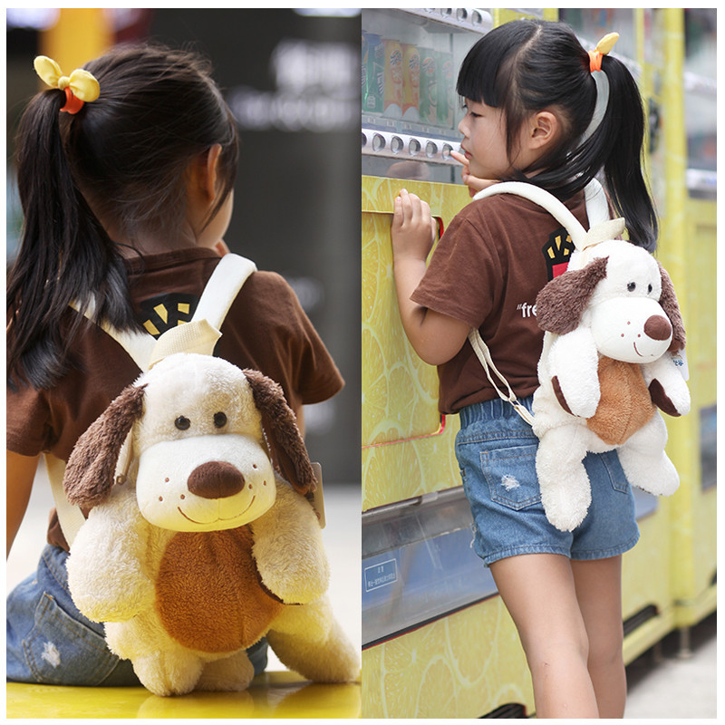 Candice guo! cute plush toy lovely cartoon long ears puppy shar pei dog backpack bag schoolbag girls boys birthday gift 1pc