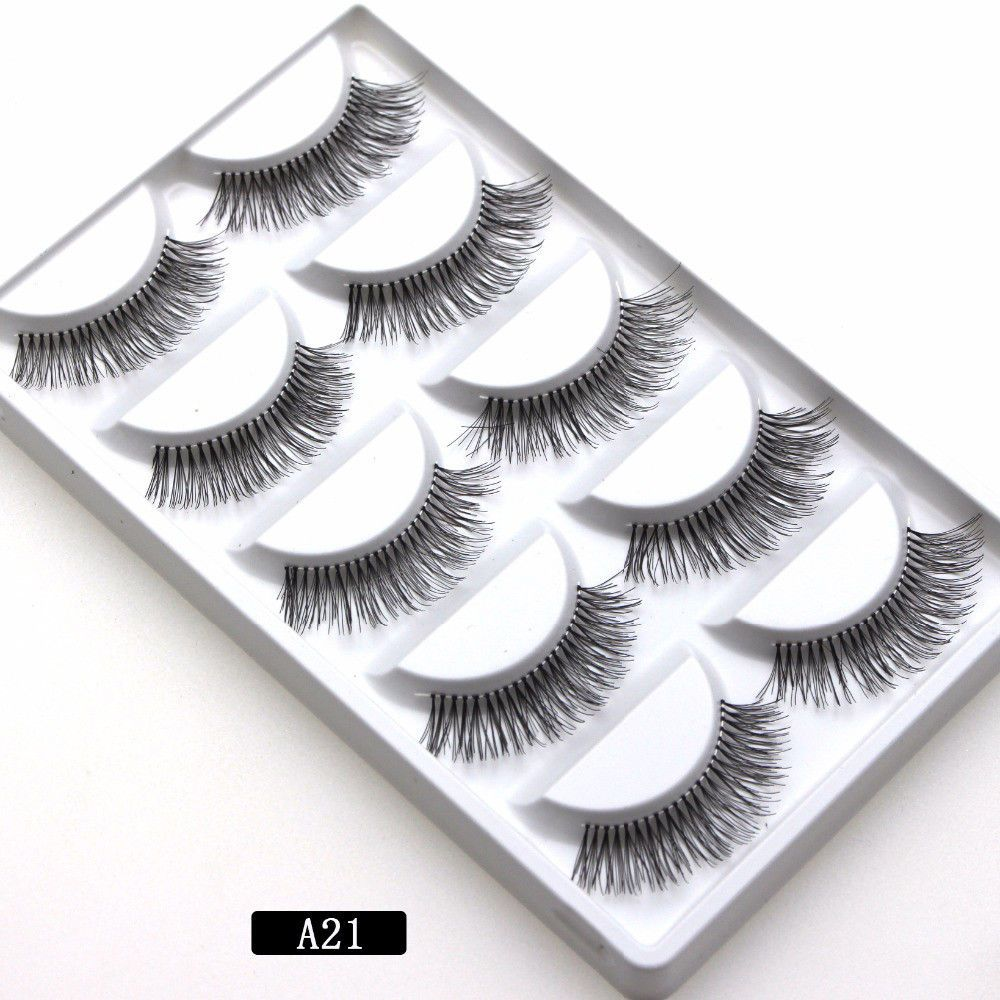 5 pairs Soft Long Makeup Cross Thick False Eyelashes Eye Lashes Nautral Handmade Hot Sale A21 Mink Fur Handmade Crossing Lashes image