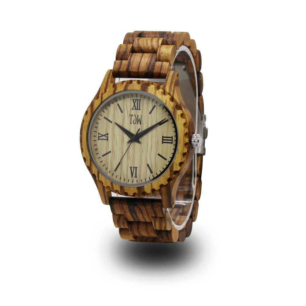 TJW Pure wooden men's watch Stylish minimalist men's watch Zebra made Wooden strap 2017 pure face design wooden watch for