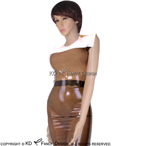 Transparent Brown With White Top Sexy Latex Dress With Zipper At Back Sleeveless Rubber Playsuit Bodycon LYQ-0040