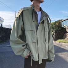 2019 New Mens Fashion Tide Multi-pocket Design Stand Collar Loose outerwear Casual Black/Army Green Color Jacket Coat M-XL