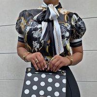Black Floral Lantern Short Sleeve Blouse Plus Size for Women 4XL Vintage Office Ladies Turtleneck Bow Lace Up Summer Tops 2019