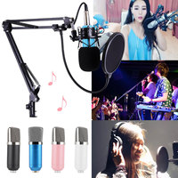 BM 700 PC Microphone Kit Computer Studio Recording Broadcast Condenser Microphones Shock Mount Arm Stand Pop Filter SL@88