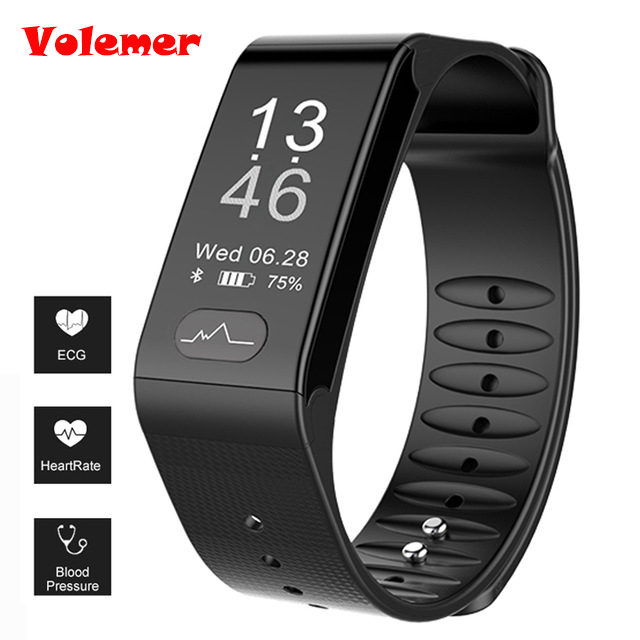 Volemer Heart Rate Smart Band Watch ECG Puls Blood Pressure Monitor Smart band Fitness Bracelet Wristband For Android IOS Phone dawo ecg smart bracelet blood pressure smart wristband heart rate temperature pedometer bluetooth fitness band for ios android