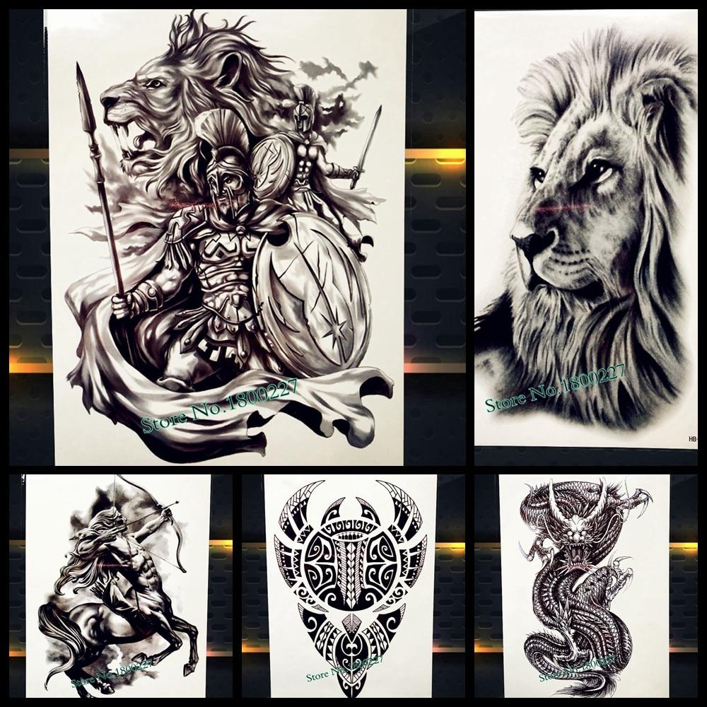 God of war temporal etiqueta engomada del tatuaje para los hombres cuerpo arte del tatuaje impermeable