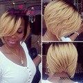 100% перуанский девственные волосы ломбер боб парик с челкой темные корни блондинка кружева перед боб вырезать эльфа парики человеческих волос для черных женщины