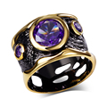 DC1989 Spanish Design Vintage Rings for Women Gold & Black Plated Hip Hop Cubic Zirconia Ring Punk Lead Free See Through Hollow