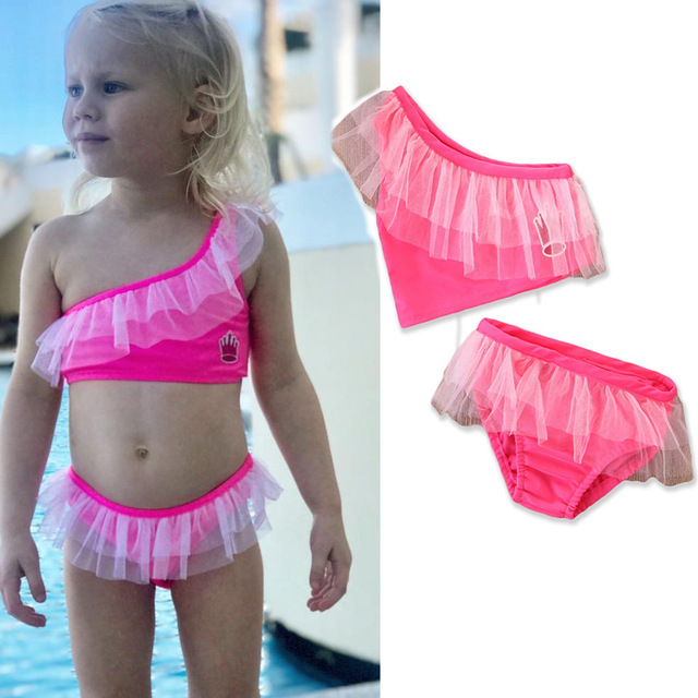 4a32c7b324c85 Best Offers 2018 New girls sexy swimsuit children's lace hot pink bikini  two pieces kids beach