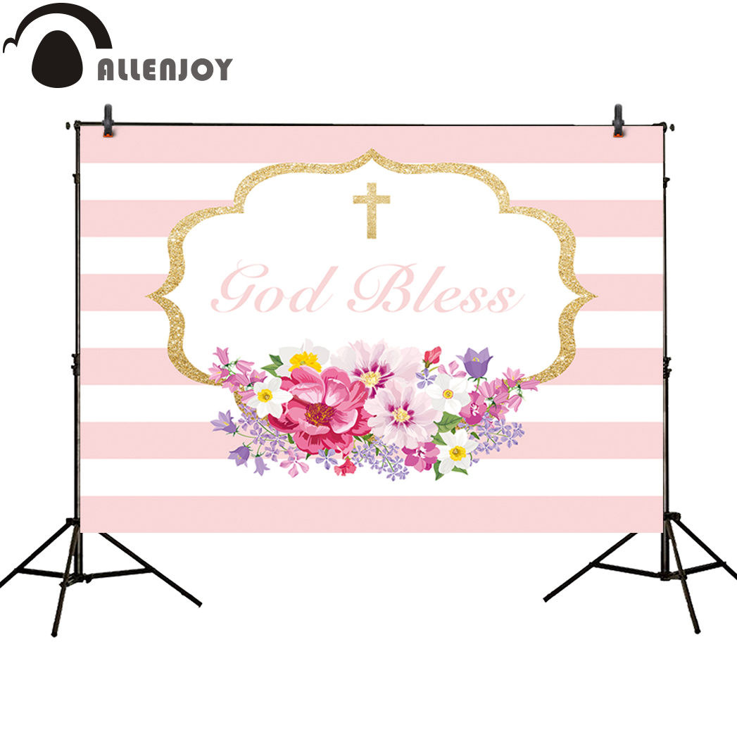 Allenjoy photo background pink gold flower first Communion stripes new photocall customize backdrop professional photobooth gold first coursebook
