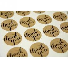 THANK YOU Sticker 120pcs/lot 3.5*3.5cm Vintage Stickers Kraft Label DIY Sticker For Gift Cake Baking Sealing Sticker