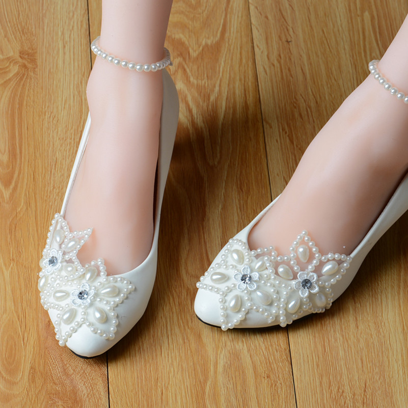 Custom Handmade Women White Lace Wedding Flats Lady Las Bridal Prom Ballet Shoes Size 4 5 6 7 8 9 10 11 12 In S From On
