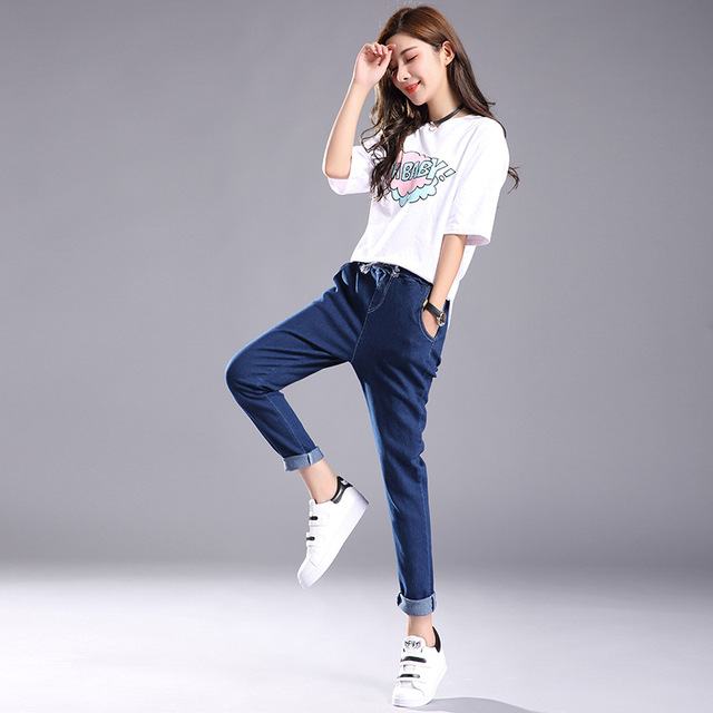 Women 2018 High Waist Jeans Elastic Femme New Fashion Cuffs Washed Blue Denim Loose Harem Jeans Classic Pencil Pants for Summer