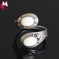 Double White Jade Women Ring Real 925 Sterling Silver Jewelry Female Handmade Thai Silver Feather Fine Leaves Wedding Rings SR43