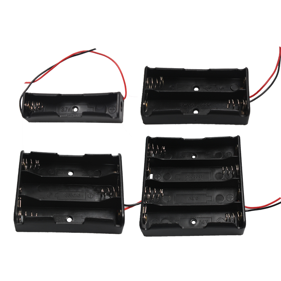 1PC Series Plastic 1x <font><b>2x</b></font> 3x 4x <font><b>18650</b></font> <font><b>Battery</b></font> Storage Box Case With Wire Lead Metal Spring DIY 3.7V <font><b>18650</b></font> <font><b>Battery</b></font> <font><b>Holder</b></font> image