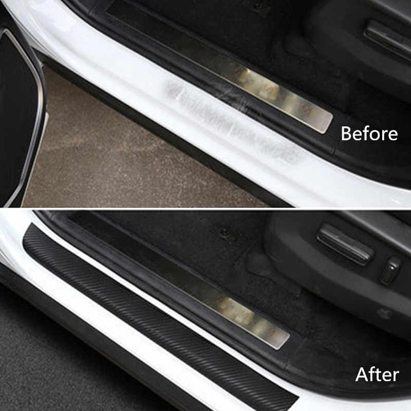 4 pçs/set Pedal Bem-vindo adesivos de Carro Adesivos de Carro De Fibra De Carbono do Peitoril Da Porta Scuff Protetor Zero Acessórios Do Carro Para Ford Fiesta 2009-2018