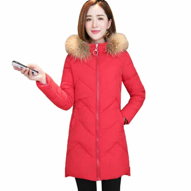 Winter Women   Parkas   Coat New Fashion Hooded Fur Collar Medium Long Outerwear Slim Large Size Thick Warm Down Cotton Jacket AA356