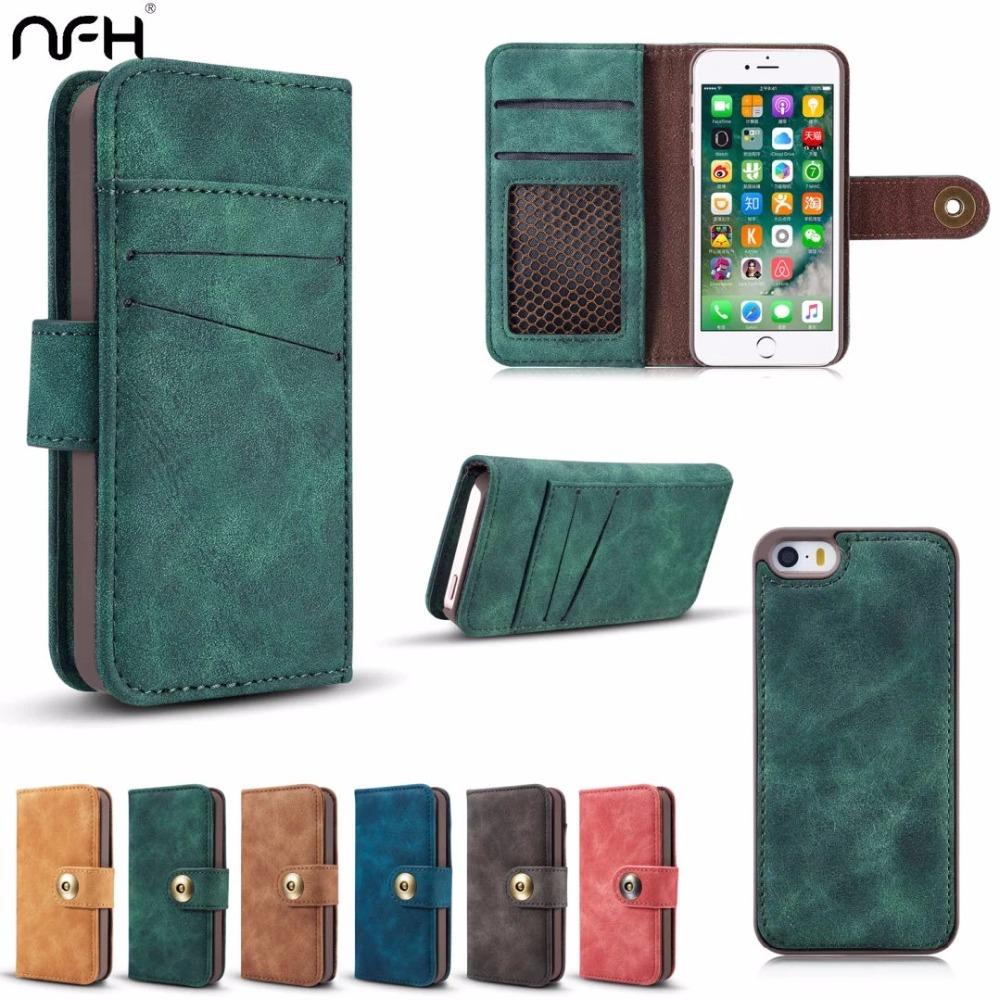 Роскошные Флип кожаный чехол на для iPhone 5 s съемный чехол для iPhone 5 5G SE отделения для карточек кошелек сумка Обложка coque на 5 5S se