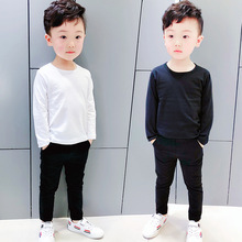 Boy's pure color T-shirt round neck long sleeve baby children's clothing children pure  cotton T-shirt Fashion boys tops ALI 323 chic round neck half sleeve pure color fringed t shirt for women