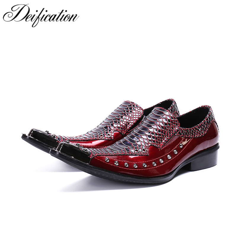Deification Luxury Rivets Studded Casual Leather Shoes Slip On Oxford Shoes For Men Formal Business Dress Shoes Chaussure Homme