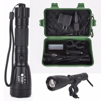 Practical 2500lm T6 XML Zoomable LED Flashlight Lamp For Outdoor Household Torch With Holder Mount Wall