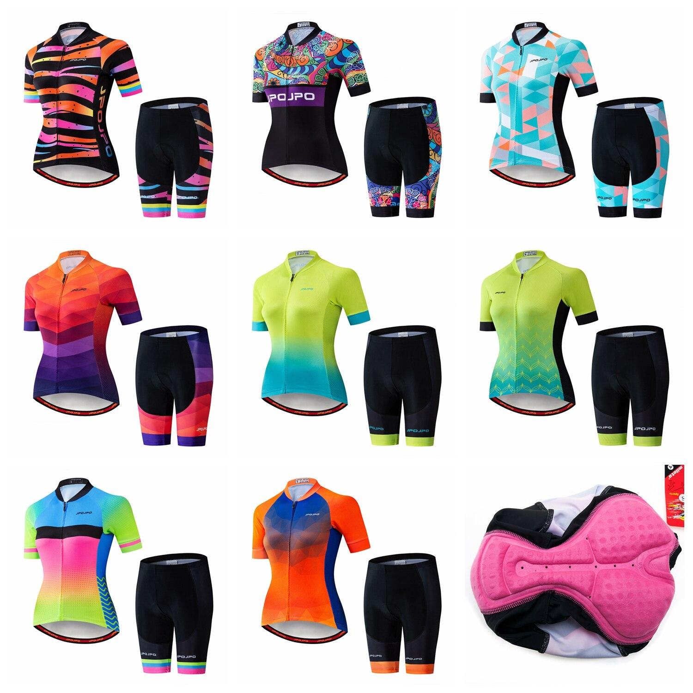 Jpojpoサイクリングジャージセット女性mtbレーシングバイクmtbサイクリングシャツ服ropa ciclismo夏半袖バイクジャージセット