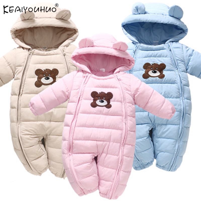 Overalls Coats Outerwear Baby Clothes Newborn Jackets Hooded Long-Sleeve Baby-Girl Winter