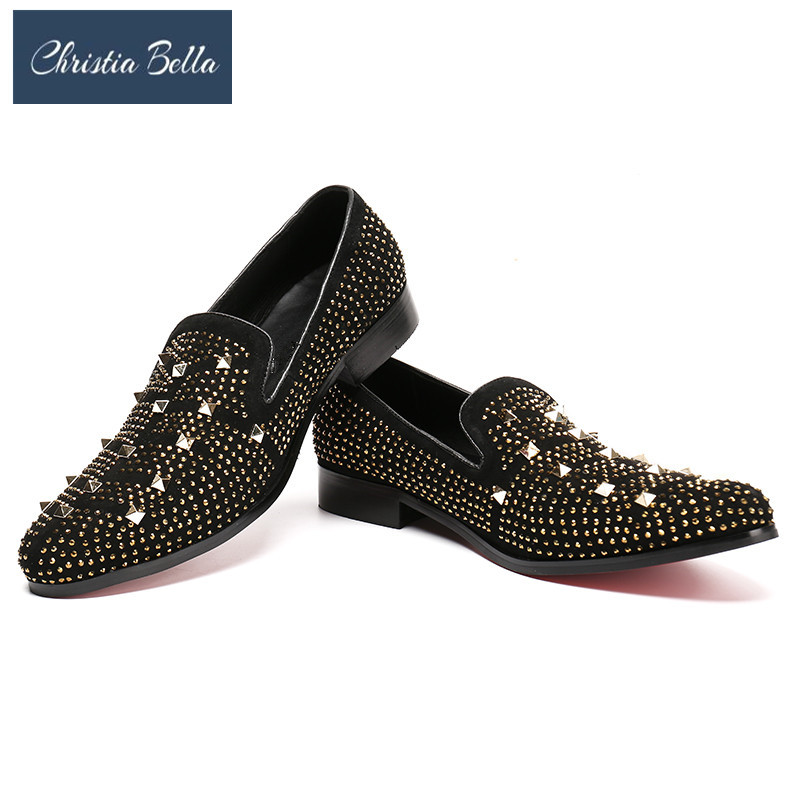Christia Bella Smoking Slippers Personalized Men Casual Shoes Fashion Tide Rivets Slip On Loafer Shoes Lazy Black Flat ZapatosChristia Bella Smoking Slippers Personalized Men Casual Shoes Fashion Tide Rivets Slip On Loafer Shoes Lazy Black Flat Zapatos