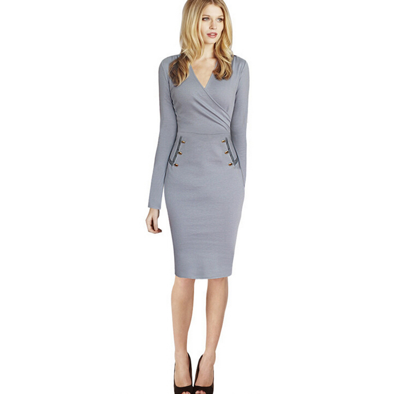 6ef58e1e3dd8 Autumn New Mature Elegant Sexy V-neck Stylish Button Work dress Office Bodycon  Female long Sleeve Sheath Woman Dress
