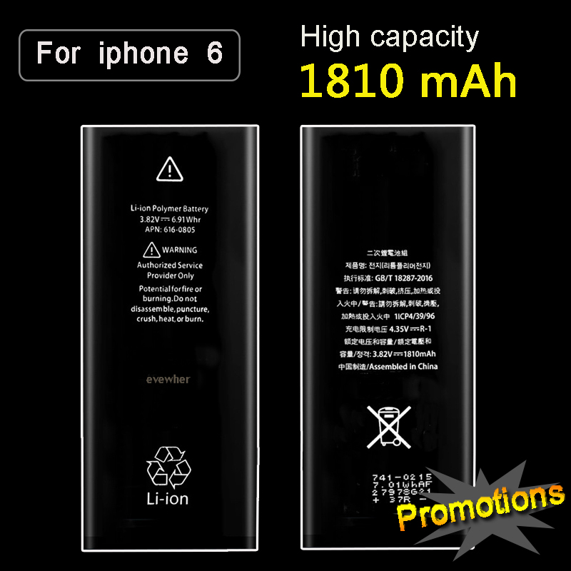 Evewher New Replacement Phone Battery For iPhone 6 6G battery iPhone6 Real Capacity 1810mAh 0 Cycle Tool Kit Sticker Batteries