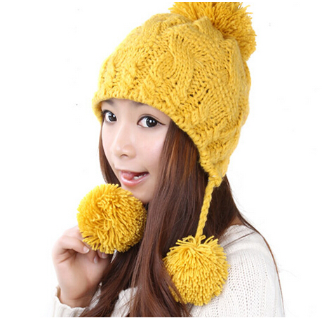 BomHCS Simple Sweet Ear Muff Wool Beanie Hat Women Lady Girl Autumn Winter Warm Fashion Handmade Knitted Skully Hats