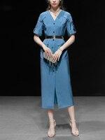 GoodliShowsi 2019 летние джинсовые платья с коротким рукавом с высокой талией однобортные карманы повседневные Элегантные шикарные женские платья